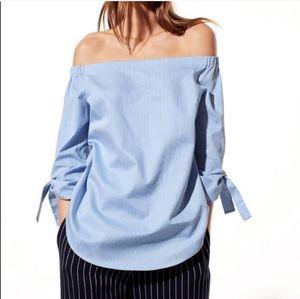 Aritzia Babaton Malik Off-Shoulder Blue Stripe Top